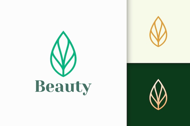Leaf or plant logo in simple line shape for spa or beauty business