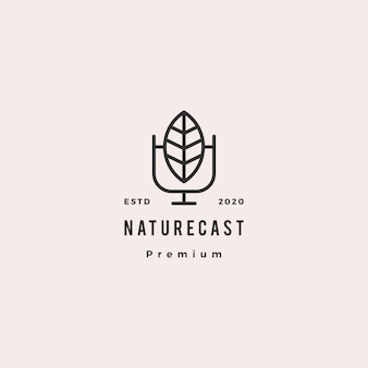 Leaf podcast logo hipster retro vintage icon for nature blog video vlog review channel radio broadcast