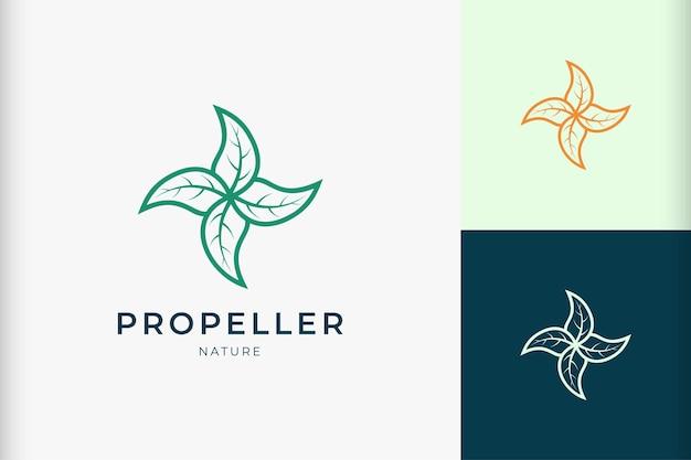 건강 또는 의약품 브랜드의 리프 프로펠러 로고