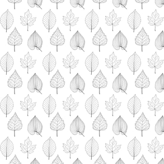 Leaf seamless pattern, doodle style