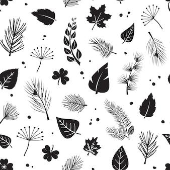 Лист бесшовные модели, пихта печати растений и шишка, листья различной формы.