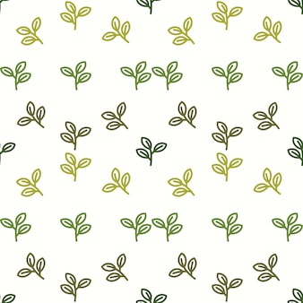 Leaf seamless pattern with ethnic style hand drawn leaf elements.