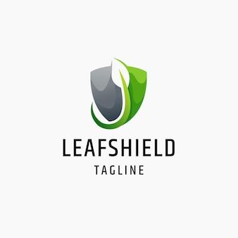 Leaf shield nature security flat logo icon design template illustration