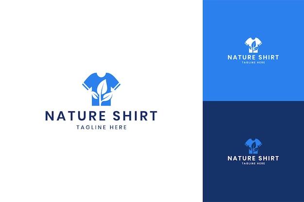 잎 셔츠 부정적인 공간 로고 디자인