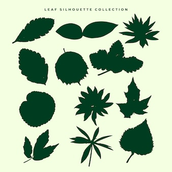 Leaf silhouette vector collection set