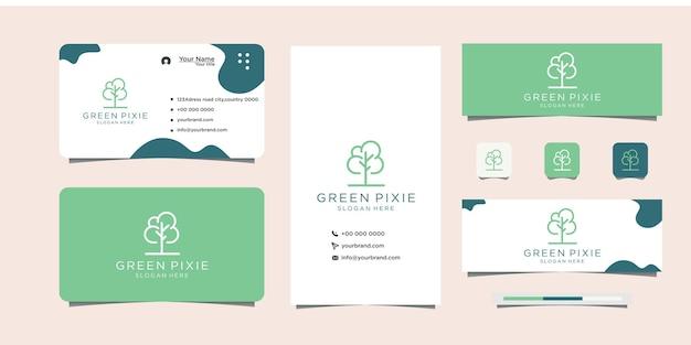 Leaf stem symbol design concept logo for organic shop and business card