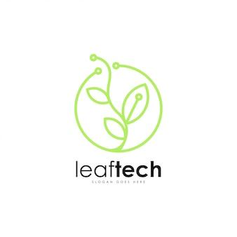 Leaf tech logo vector. leaf and technology logo template