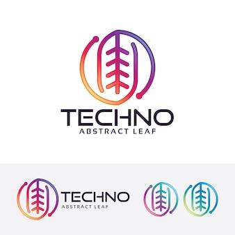 Leaf technology vector logo template