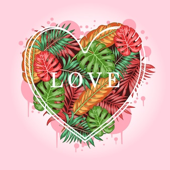 Leaf tropical love valentine summer artwork vector