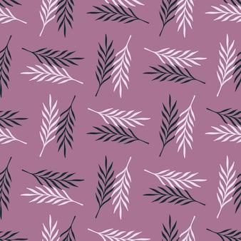 葉の小枝のシームレスな落書きパターン