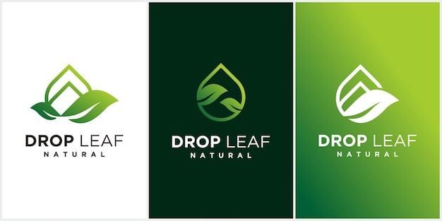 Капля воды в виде листа и элемент дизайна логотипа аква-хауса дома