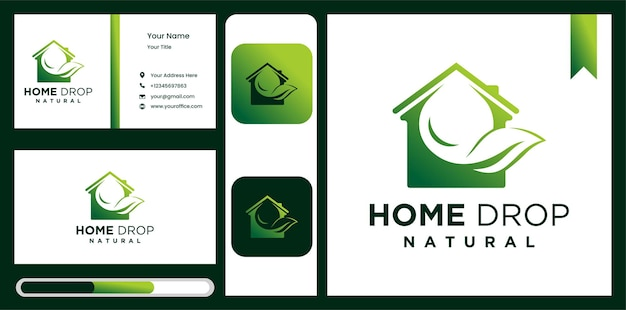 Leaf water drop and aqua house logo design element home