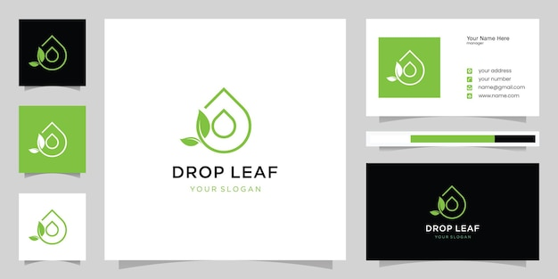 Leaf and water drop logo and business card template