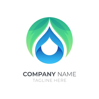 Leaf and water drop logo