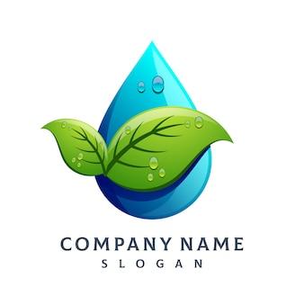 Leaf water drop logo