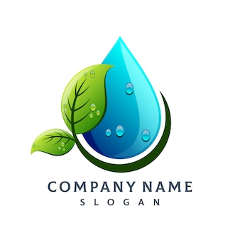 Leaf water drop logo