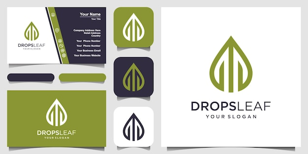 Leaf and water vector logo with line art. logo design and business card
