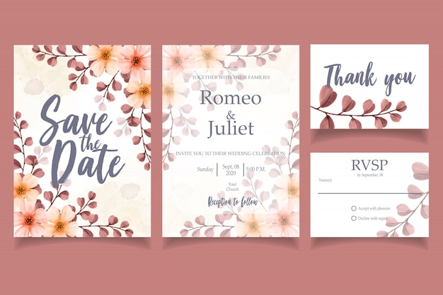 Leaf watercolor invitation wedding party card floral template red
