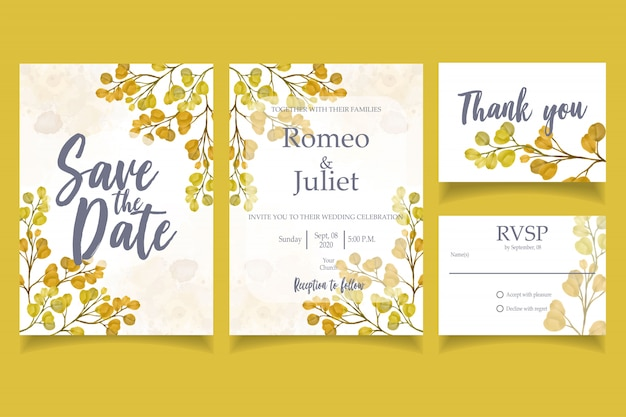 Leaf watercolor invitation wedding party card floral template yellow