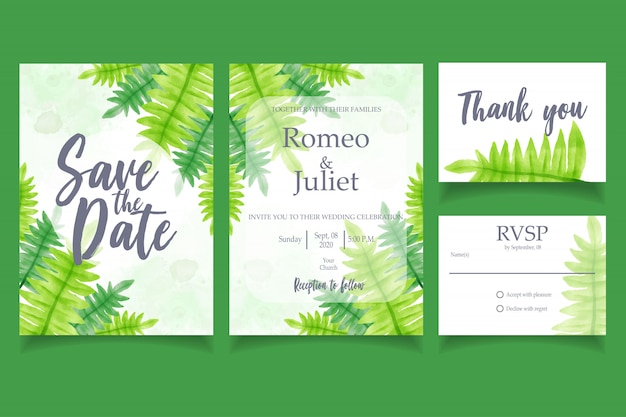 Leaf watercolor invitation wedding party card floral template