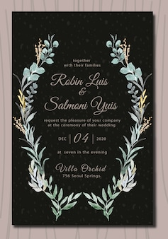 Leaf wedding invitation with watercolor