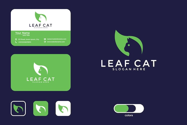 Leaf with cat logo design and business card