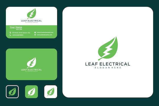 전기 에너지 로고 디자인 및 명함이 있는 잎