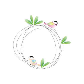 Leaf wreath with a cute bird island design hand-drawn illustrations.