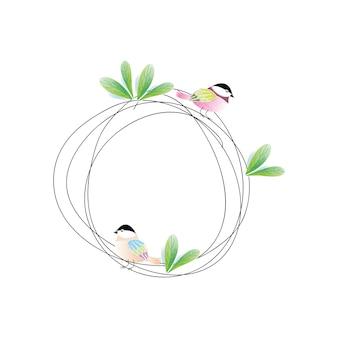 Leaf wreath with a cute bird island design hand-drawn illustrations.