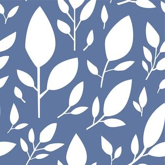 葉と装飾的な植物相は、白いシルエットのシームレスなパターンを残します。グリーティングカードやテキスタイルデザインの青い背景またはプリント。自然と有機の繁栄、植物。フラットスタイルのベクトル