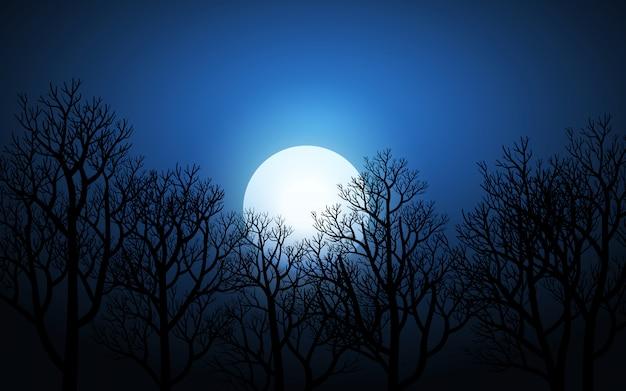 葉のない木と夜の満月