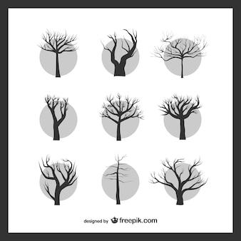 Голые деревья упаковать Бесплатные векторы