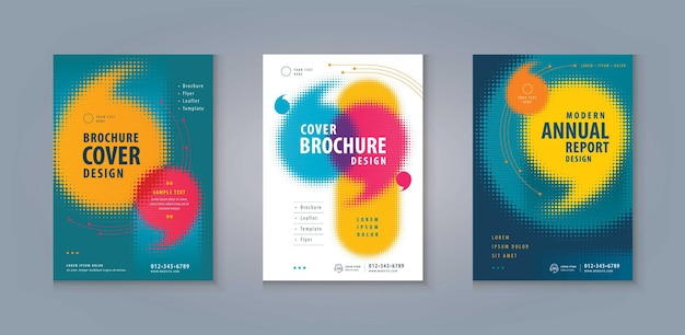 Leaflet brochure flyer template corporate book cover abstract colorful speech bubble in halftone dot