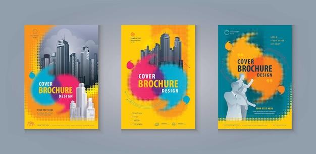 전단지 브로셔 전단지 템플릿 기업 책 표지 하프톤 도트에서 추상 다채로운 연설 거품