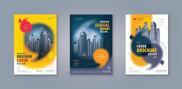 Leaflet brochure flyer template corporate book cover abstract speech bubble in halftone dot