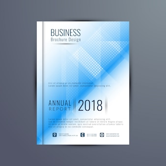 Leaflet cover with polygonal shapes and dots