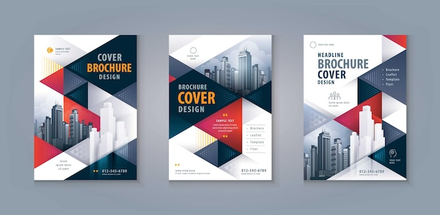 Leaflet flyer poster cover annual brochure template design abstract red and black geometric triangle