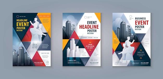 전단지 전단지 포스터 디자인 표지 브로셔 템플릿 추상 빨간색과 검은색 기하학적 삼각형