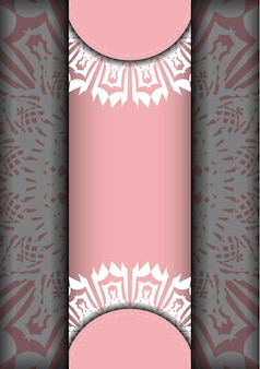 インドの白い模様のピンクのリーフレットは、印刷の準備ができています。