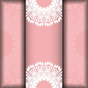 Leaflet in pink with greek white pattern is ready for print.