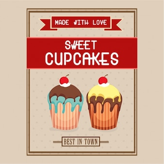 Leaflet template with sweet cupcakes