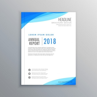 Leaflet with blue abstract shapes