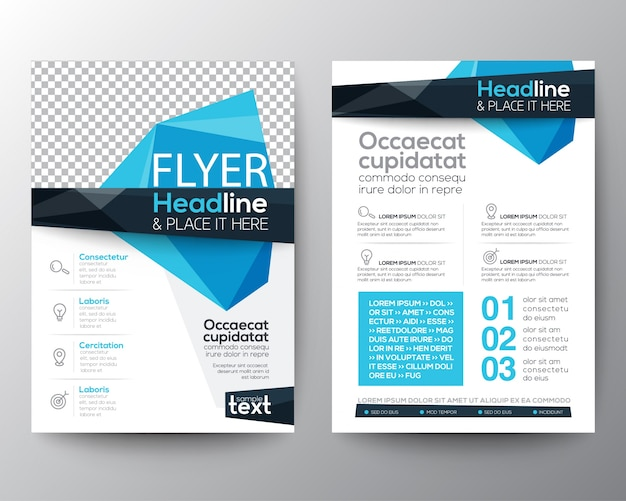 Leaflet with blue polygonal shapes