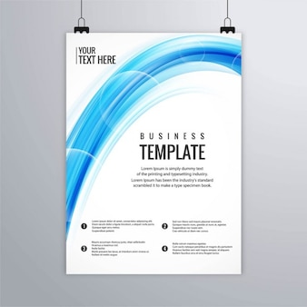 Leaflet with blue wavy shapes