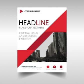 Leaflet with red geometric shapes