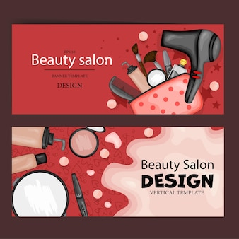 Leaflets with cosmetic products, template for text. cartoon style. vector illustration.