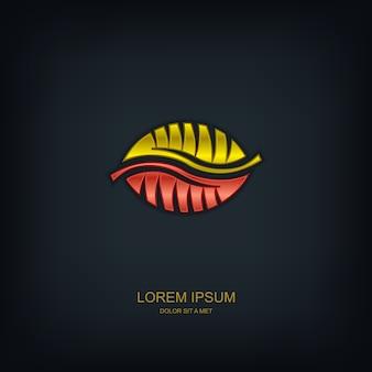 Листья абстрактный шаблон эмблема логотип, экология природа, универсальная идея бизнес-технологий