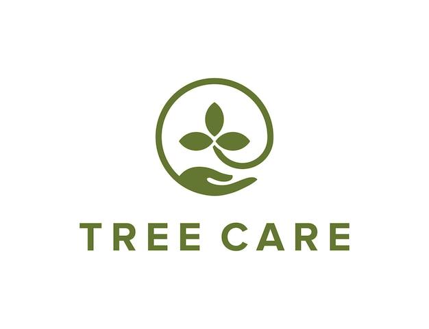Leafs and hand care simple sleek creative geometric modern logo design
