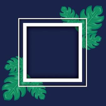 Leafs plants decorative frame