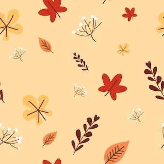 秋の花とシームレスなパターンをleafs